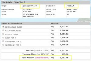 Online Booking Bacolod to Manila March 2017