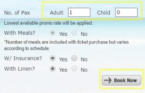 2Go Online booking Details