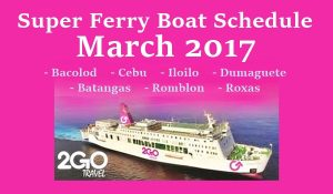 Superferry March schedule