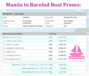 manila to bacolod 2go travel ferry promo ticket price 2018