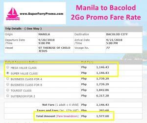 manila to bacolod 2go travel boat promo 2018